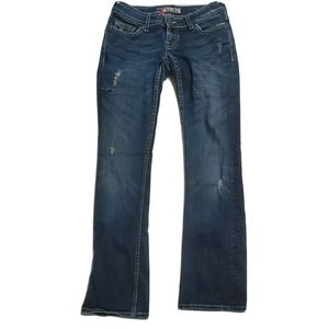 BKE Ultra Low Rise Flare Ripped Dark y2k Jeans
